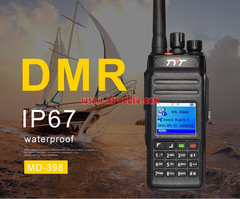 TYT MD-398 GPS DMR Digital Walkie Talkie Compatible with Mototrbo Tier I&II