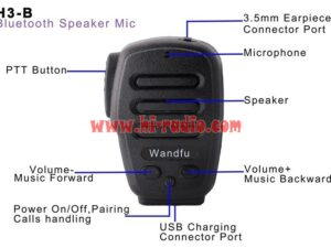 Wandfu PTT H3-B Bluetooth Speaker Mic For Walkie Talkie POC iOS Zello Android Azetti ESchat GroupTalk iPhone