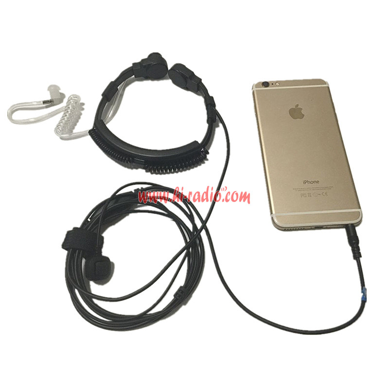 Throat Mic Acoustic Tube Earpiece Jack 3 5mm For Iphone Android Cell Phone